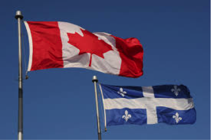 Quebec and Canada Flag